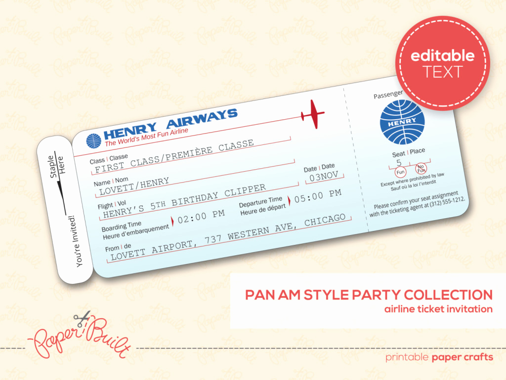 Editable Ticket Template Free Best Of Editable Template Example Of Airplane Ticket with Flight