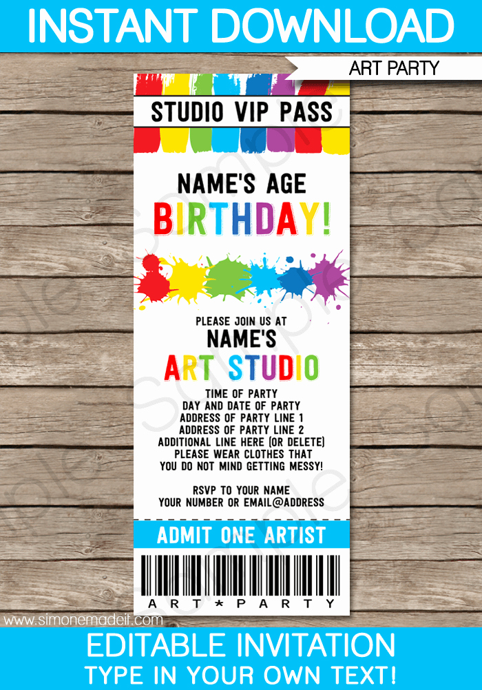Editable Ticket Template Free Fresh Art Party Ticket Invitations Paint Party
