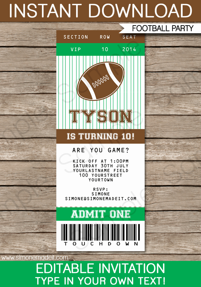 Editable Ticket Template Free Fresh Football Ticket Invitation Template