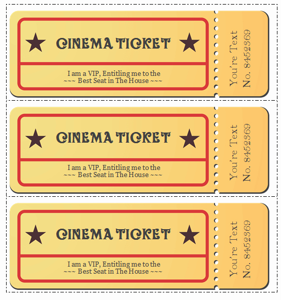 Editable Ticket Template Free Lovely 6 Movie Ticket Templates to Design Customized Tickets