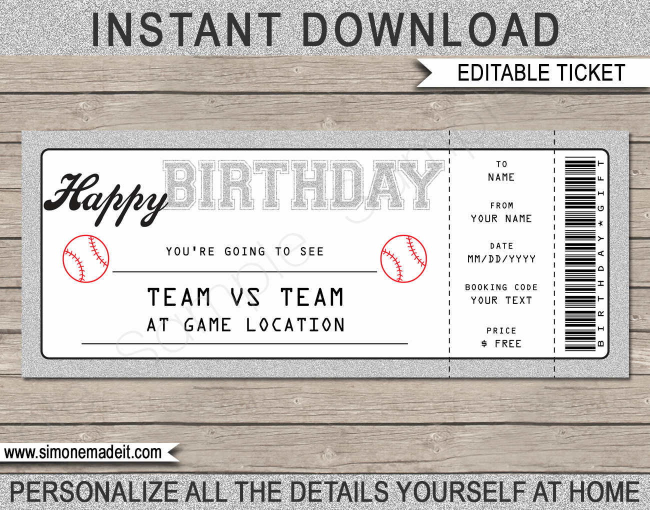 Editable Ticket Template Free New Printable Birthday Baseball Game Ticket