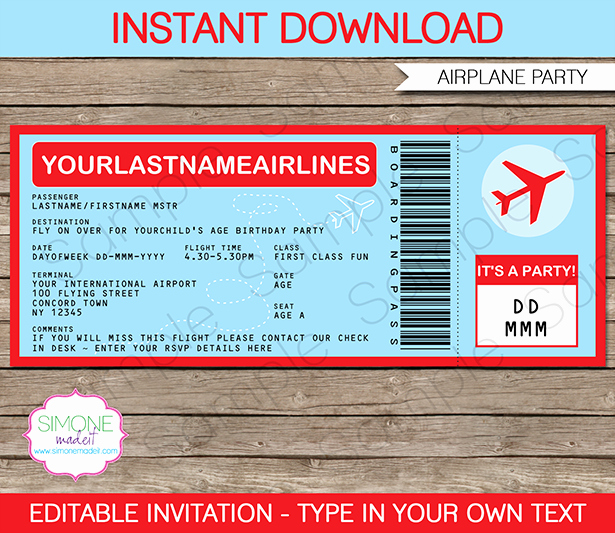 Editable Ticket Template Free Unique Airplane Ticket Invitations Template