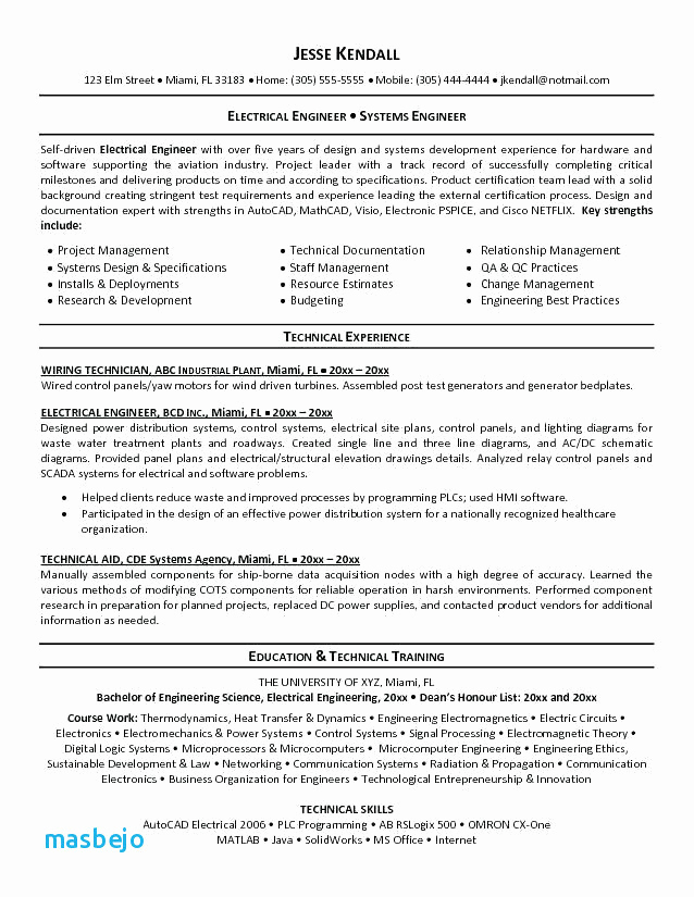 Electrical Engineer Resume Sample Awesome Electrical Engineering Resume Beautiful Electrical