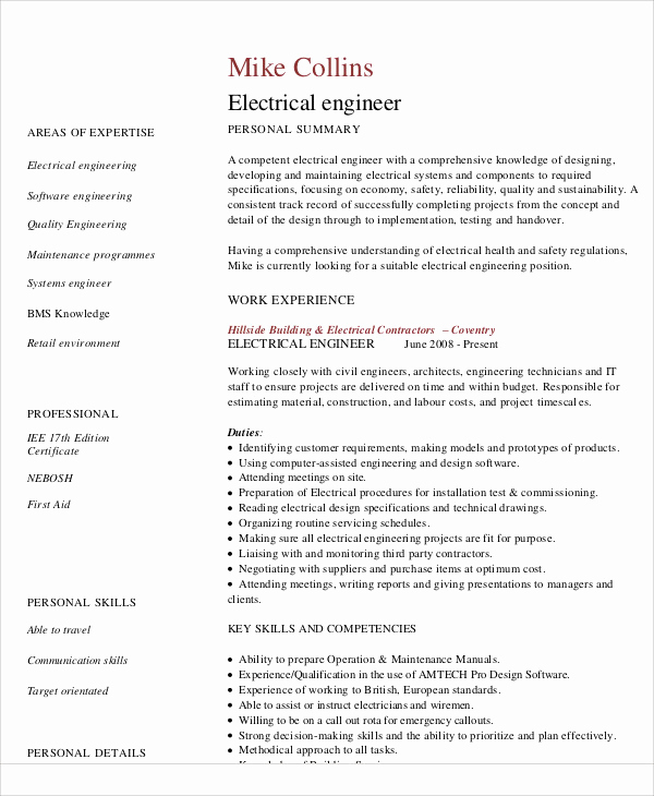 Electrical Engineer Resume Sample Beautiful 54 Engineering Resume Templates