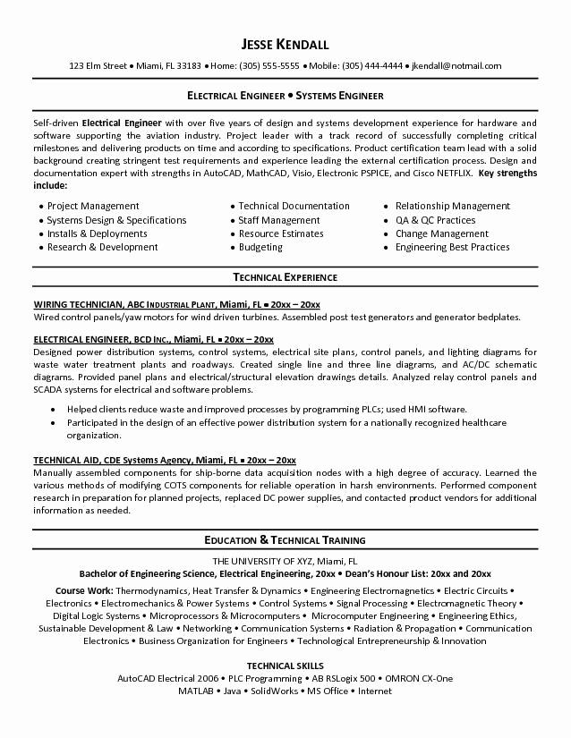 Electrical Engineer Resume Sample Beautiful Perfect Electrical Engineer Resume Sample 2019