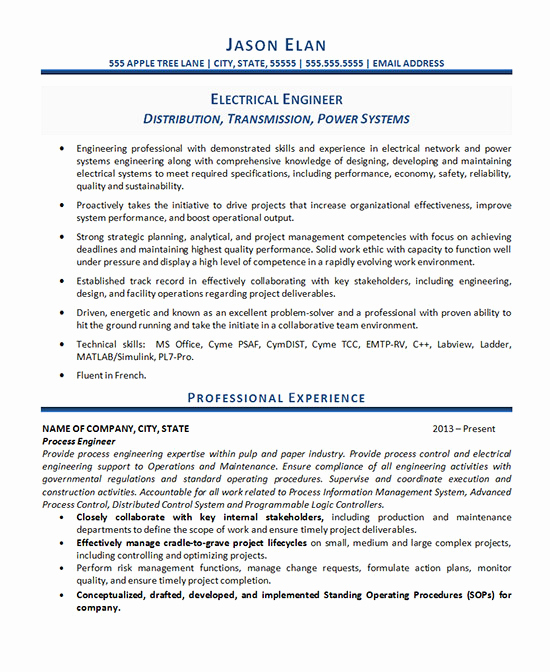 Electrical Engineer Resume Sample Fresh Electrical Engineer Resume Example