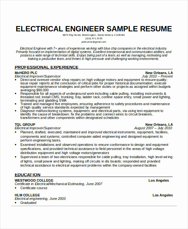 Electrical Engineer Resume Sample Fresh Free Engineering Resume Templates 49 Free Word Pdf