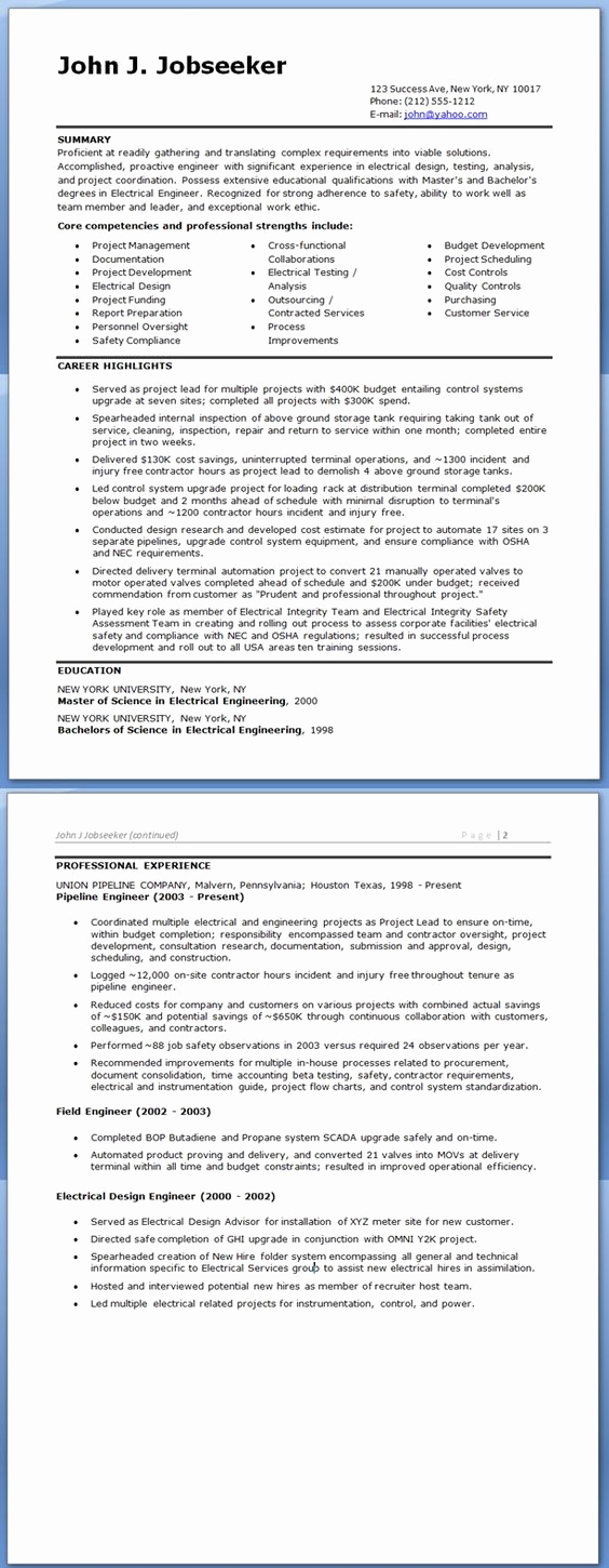 Electrical Engineer Resume Sample Lovely Electrical Engineer Resume Sample Doc Experienced