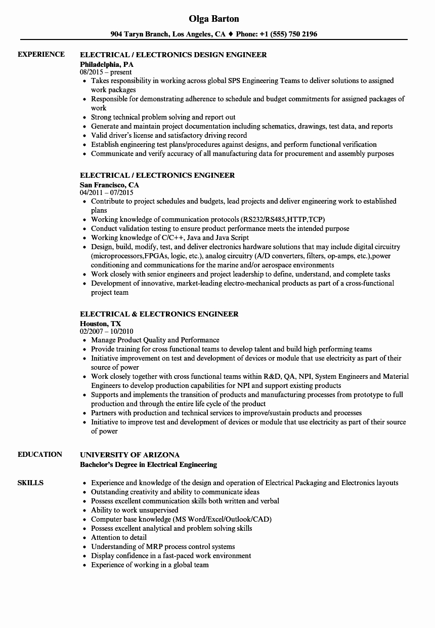Electrical Engineer Resume Sample Luxury Electrical Engineer Electronics Engineer Resume Samples