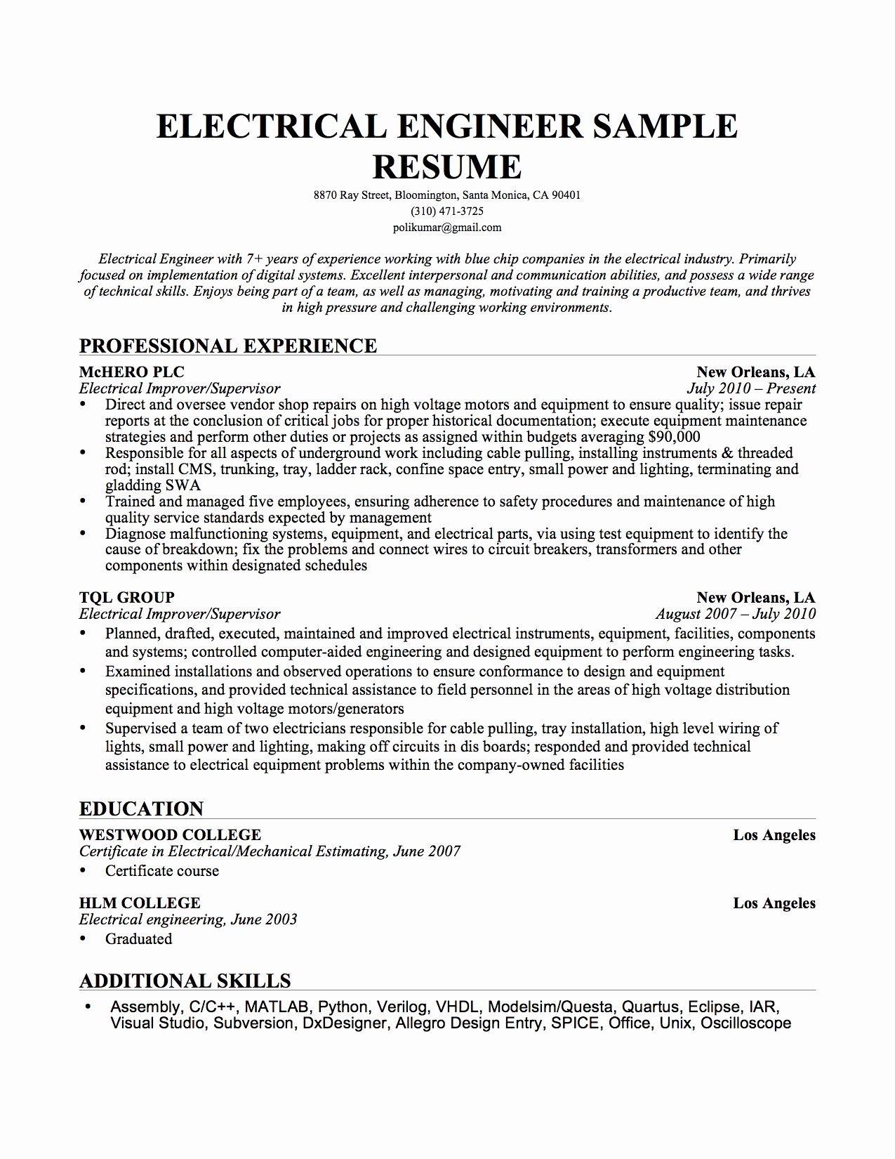 Electrical Engineer Resume Sample New Resume format Resume format Download Electrical Engineering