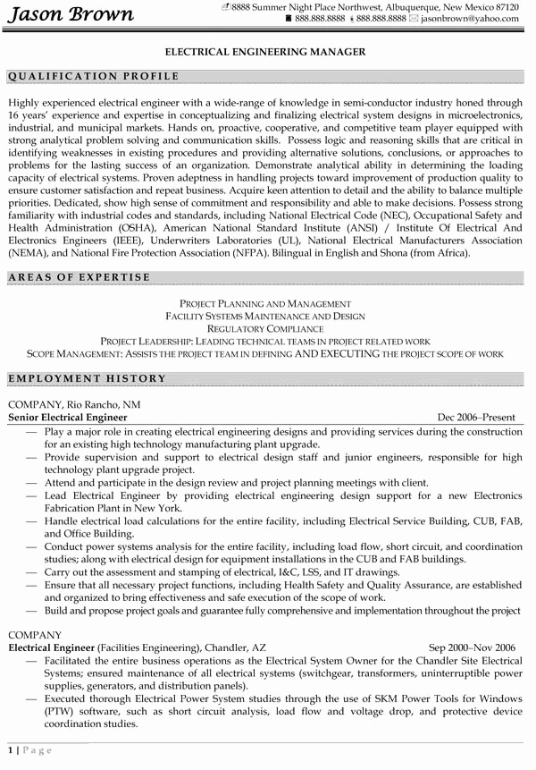 Electrical Engineer Resume Sample New Resume Samples for Engineer the Best Among the Rest