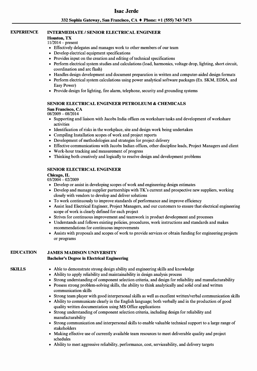 Electrical Engineer Resume Sample New Senior Electrical Engineer Resume Samples