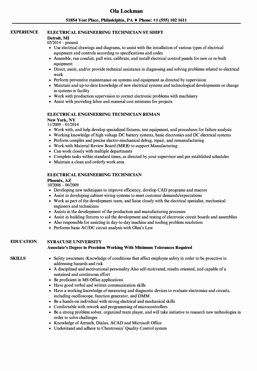 Electrical Engineer Resume Sample Unique Electrical Engineering Technician Resume Samples