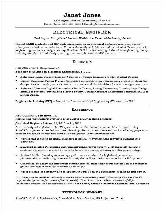 Electrical Engineer Resume Sample Unique Entry Level Electrical Engineer Sample Resume