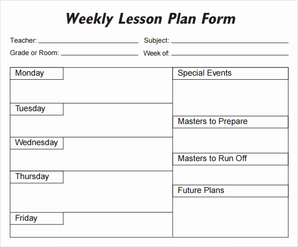 Elementary Lesson Plan Template New Weekly Lesson Plan 8 Free Download for Word Excel Pdf
