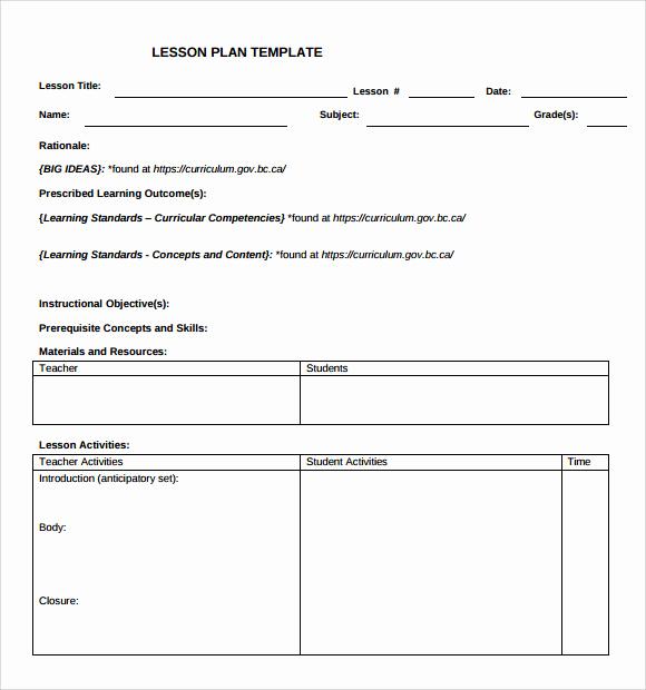 Elementary Lesson Plan Template Unique 9 Teacher Lesson Plan Templates for Free Download