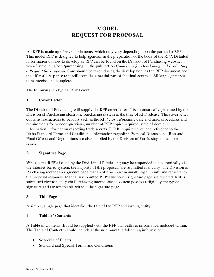 Elements Of A Cover Letter Beautiful Sample Request for Proposal format