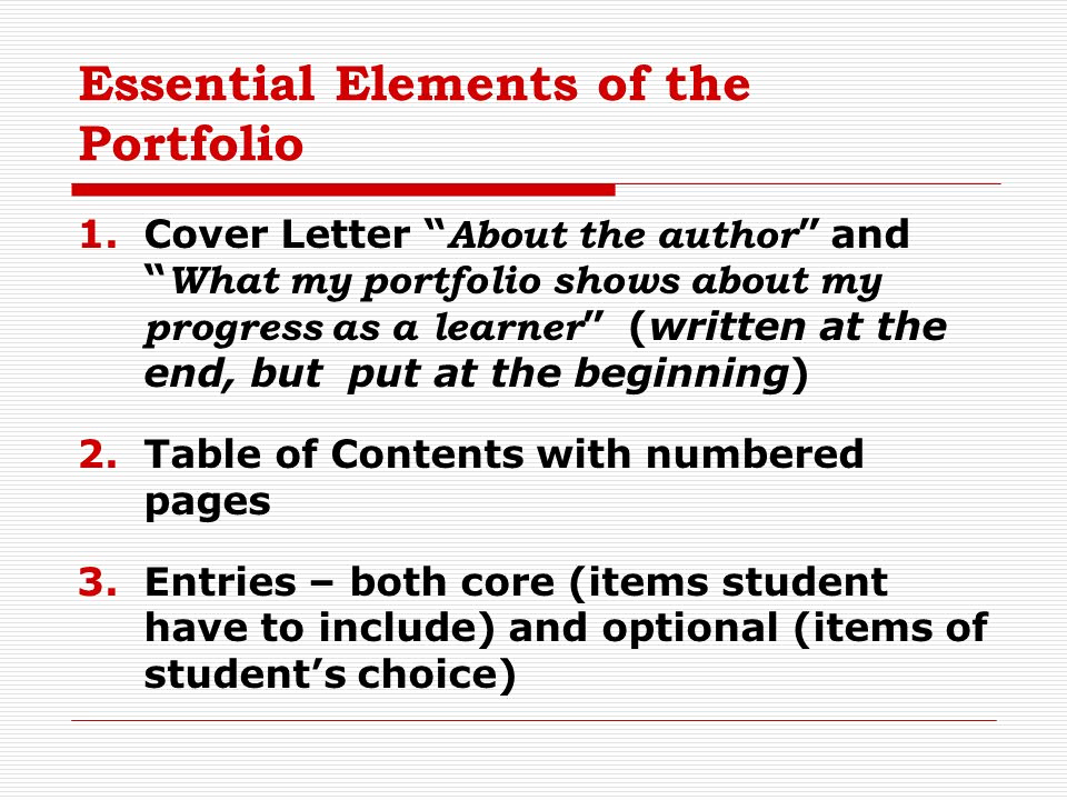 Elements Of A Cover Letter Luxury Portfolio assessment Methods Ppt Video Online