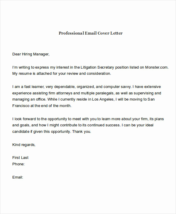 Email Cover Letter Example Awesome 21 Email Cover Letter Examples & Samples