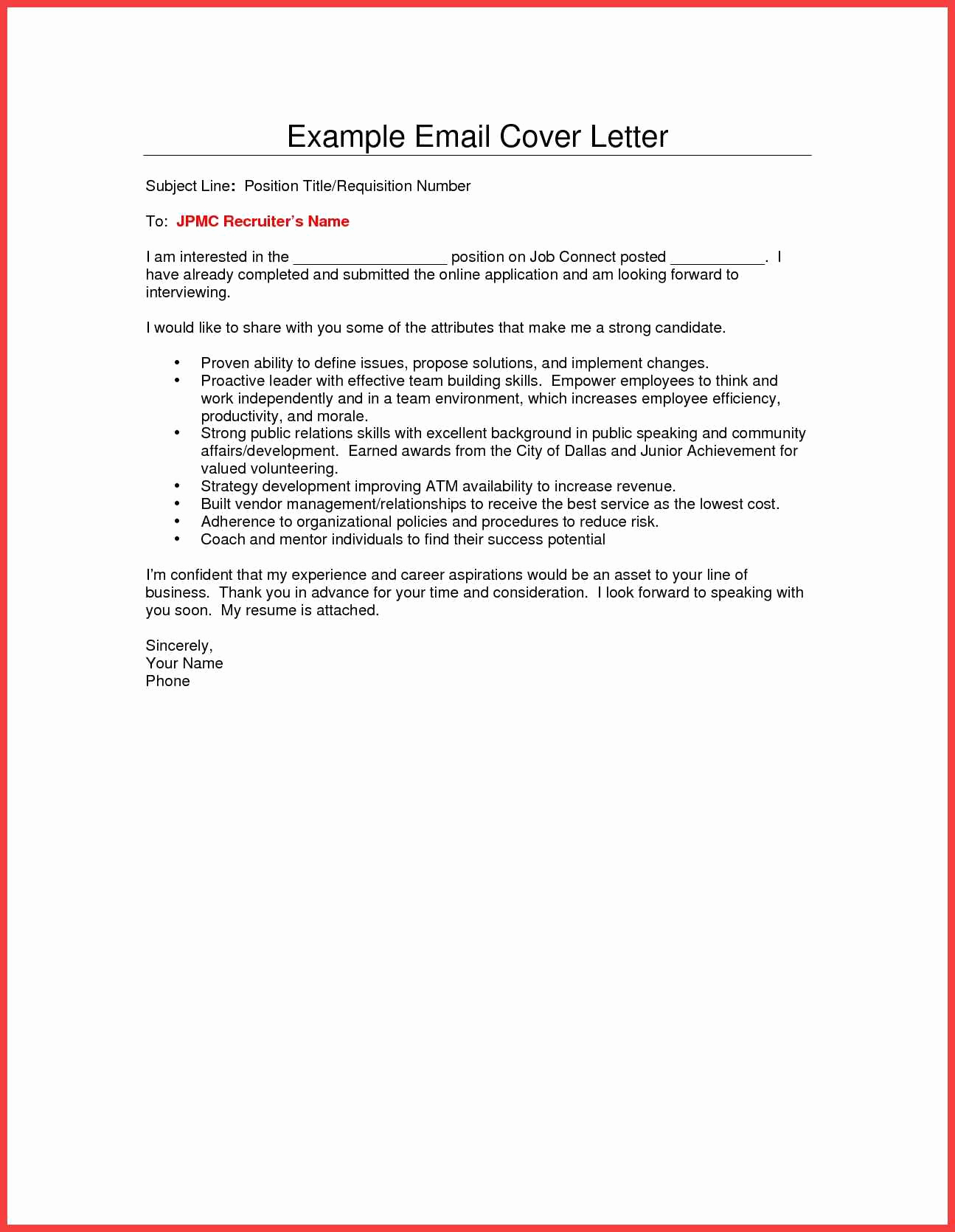 Email Cover Letter Example Beautiful Email Cover Letter Template