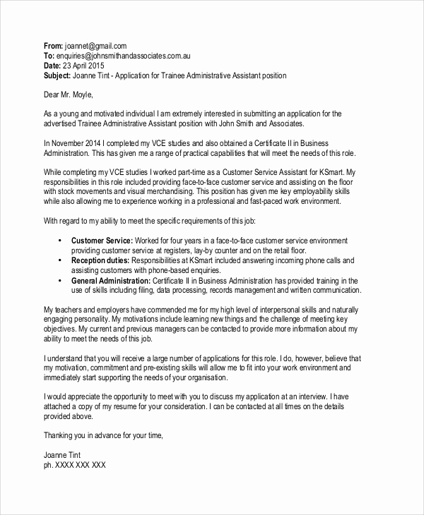 Email Cover Letter Example Inspirational 9 Sample Application Cover Letters