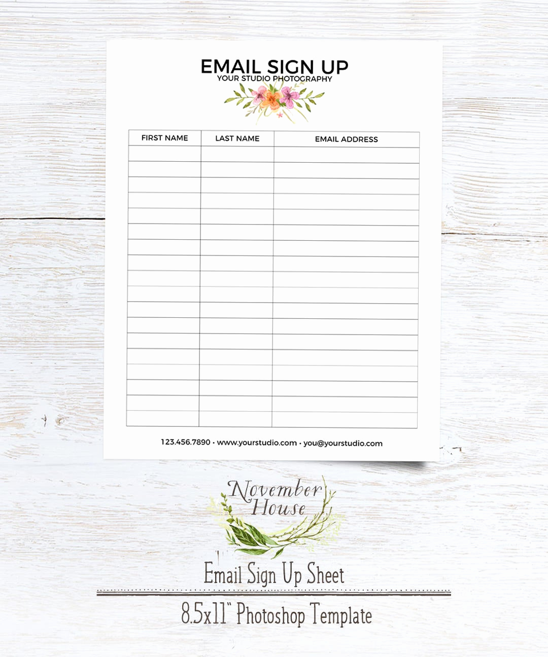 Email Sign Up Sheet Awesome Email Sign Up Sheet Graphy forms Plus Studio Stationery