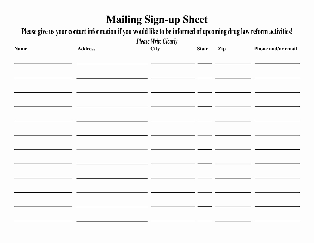 Email Sign Up Sheet Template Awesome Blank Sign Up Sheet Printable