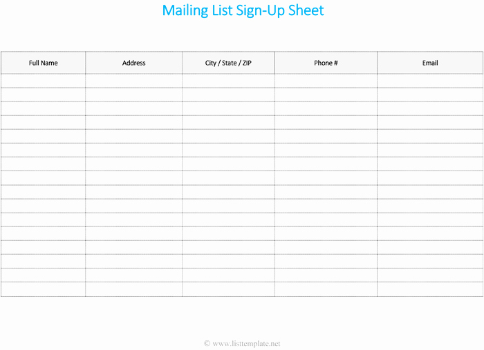 Email Sign Up Sheet Template Unique Mailing List Template