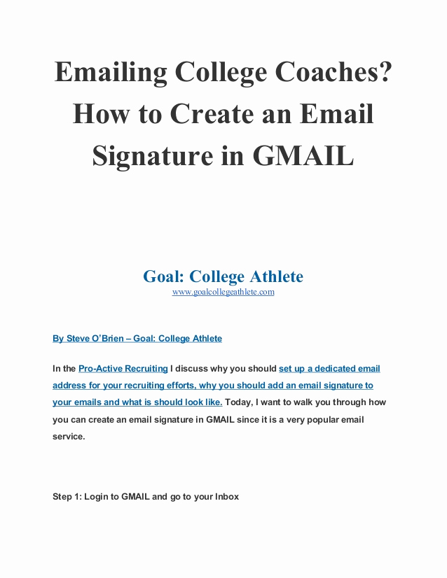 Email Signature for College Student Awesome Emailing College Coaches How to Create An Email Signature