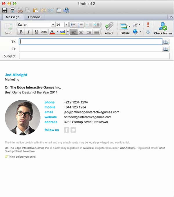 Email Signature Template Outlook Awesome Email Signatures for Outlook Mac 2016