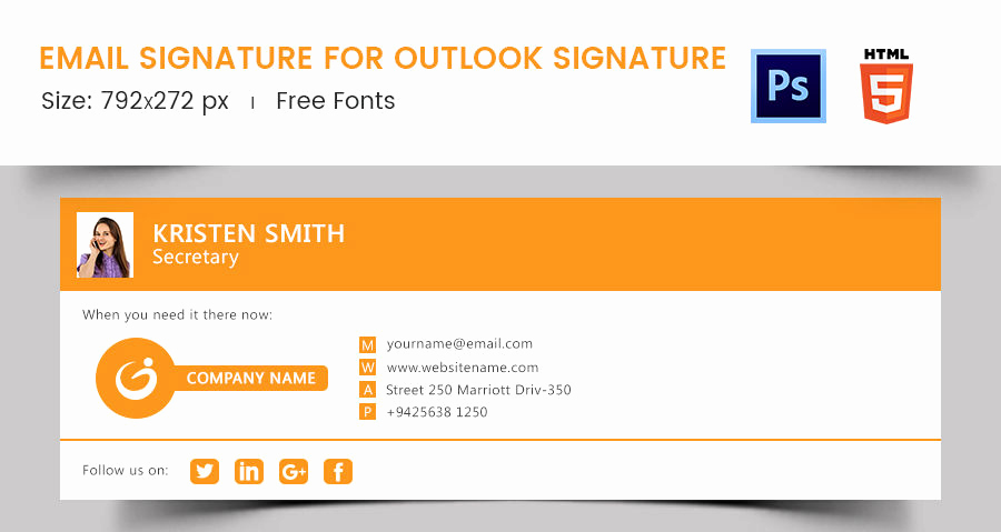 Email Signature Template Outlook Elegant 96 Responsive Email Signatures