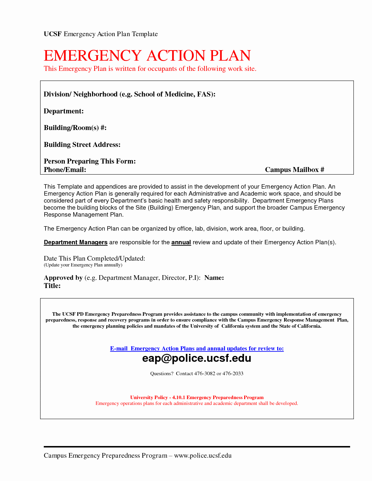 Emergency Action Plans Examples Elegant Emergency Action Plan Template