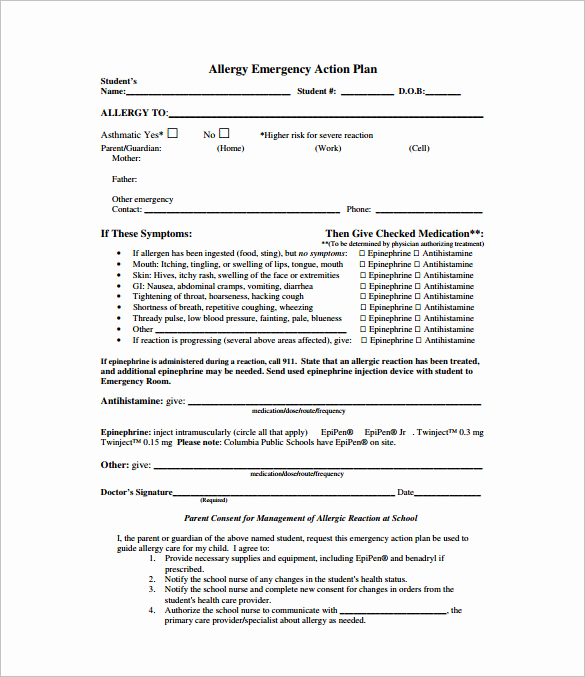 Emergency Action Plans Examples Fresh Allergy Action Plan Template 9 Free Word Excel Pdf