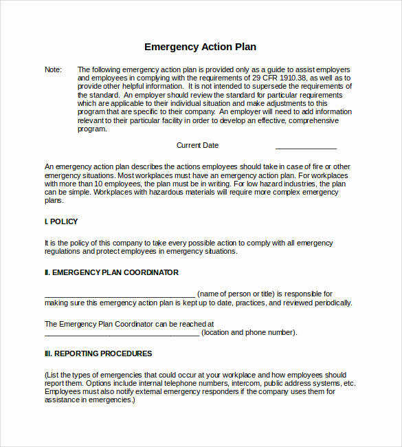 Emergency Action Plans Examples Fresh Sample Emergency Action Plan Template 9 Documents In