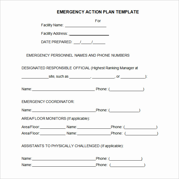 Emergency Action Plans Examples Luxury Emergency Action Plan Template