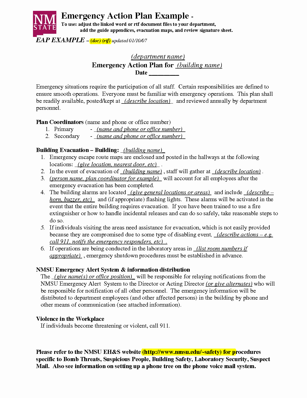 Emergency Action Plans Examples New Emergency Action Plan Template