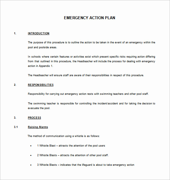 Emergency Action Plans Examples Unique Emergency Action Plan Template 8 Free Sample Example