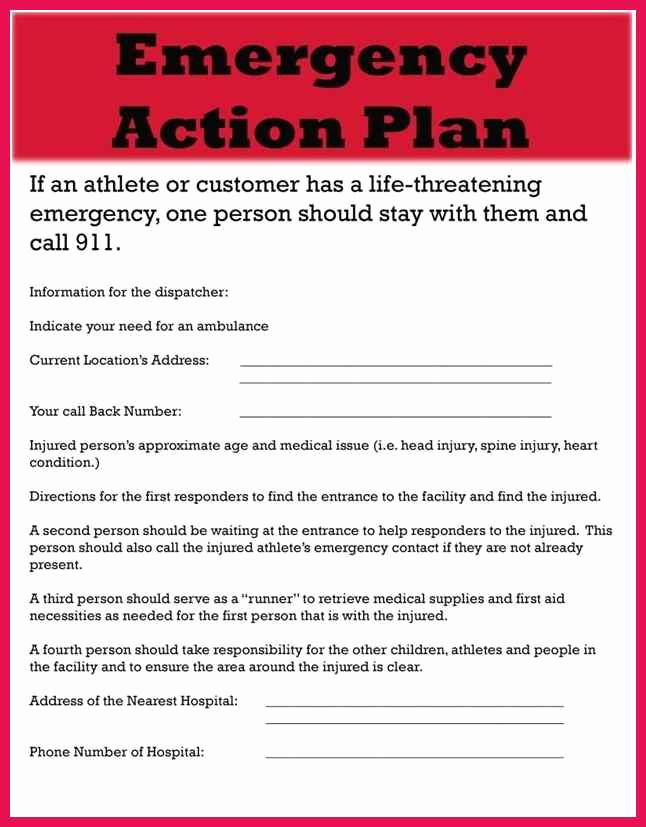 Emergency Action Plans Examples Unique Emergency Action Plan Template