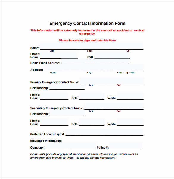 Emergency Contact form Template Awesome Emergency Contact forms 11 Download Free Documents In