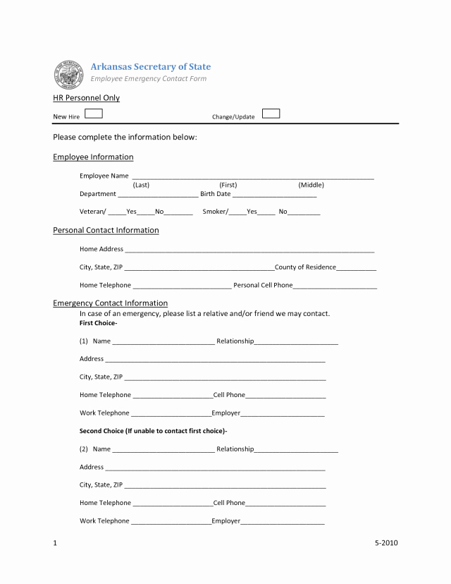Emergency Contact form Template Awesome Employee Emergency Contact forms Find Word Templates
