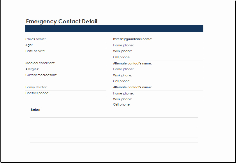Emergency Contact form Template Beautiful Emergency Contact List Template at Xltemplates