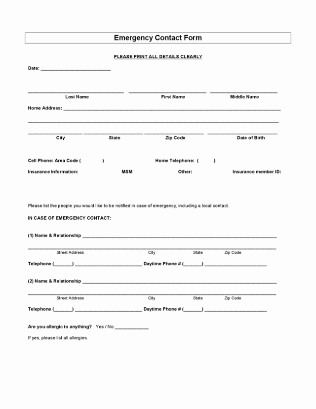 Emergency Contact form Template Beautiful Employee Emergency Contact forms Find Word Templates