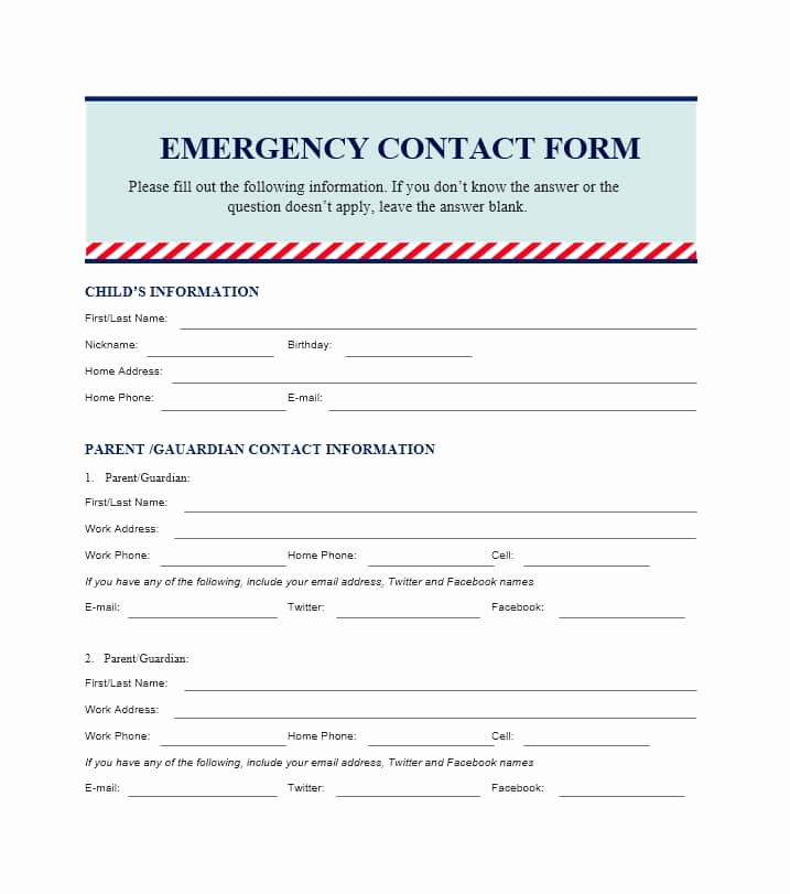 Emergency Contact form Template Best Of 54 Free Emergency Contact forms [employee Student]