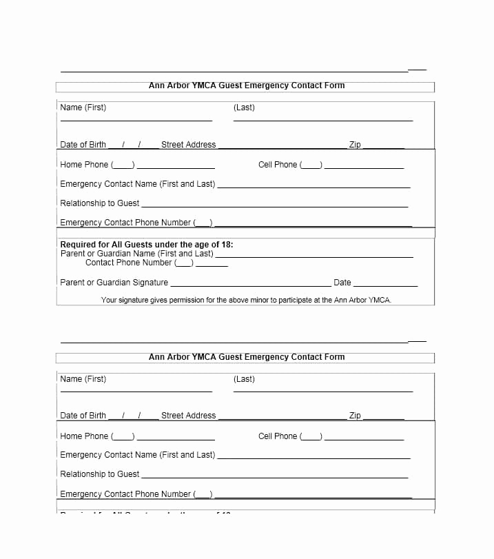 Emergency Contact form Template Fresh 54 Free Emergency Contact forms [employee Student]