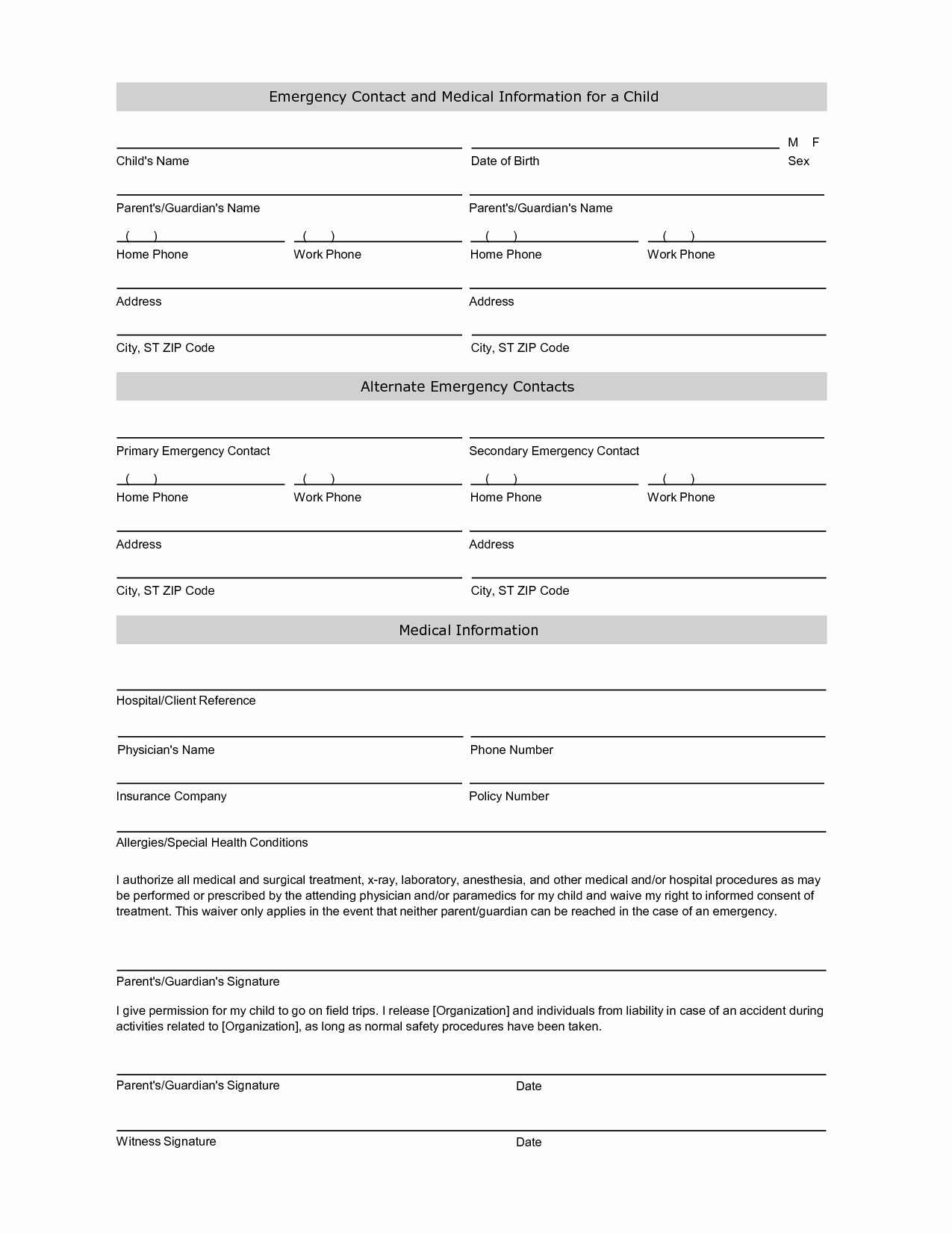 Emergency Contact form Template Fresh 6 Best Of Emergency Information Printable