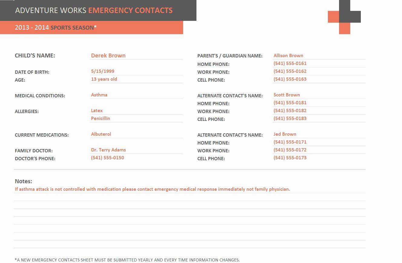 Emergency Contact form Template Fresh Emergency Contact form Template
