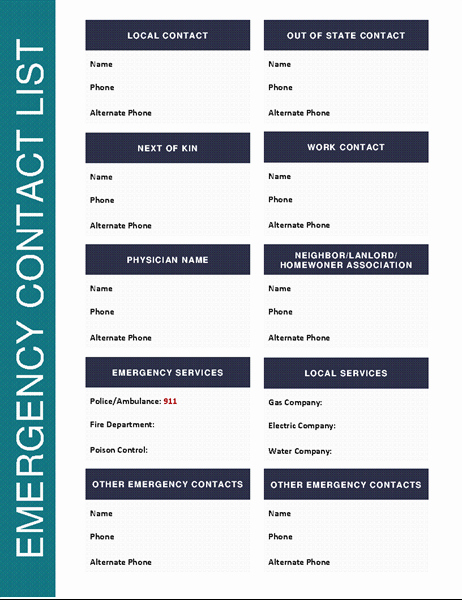 Emergency Contact form Template Fresh Emergency Contact List