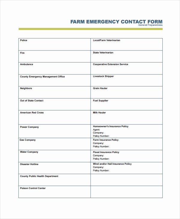 Emergency Contact form Template Inspirational 8 Emergency Contact form Samples Examples Templates