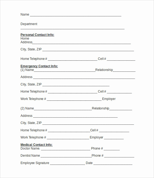 Emergency Contact form Template Inspirational Emergency Contact forms 11 Download Free Documents In