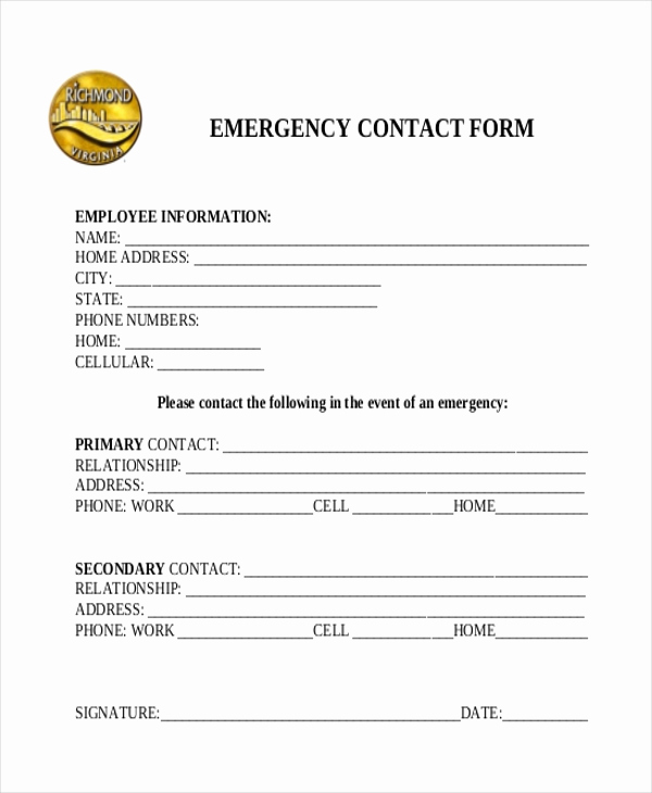 Emergency Contact form Template Lovely Sample Emergency Contact form 11 Free Documents In Word